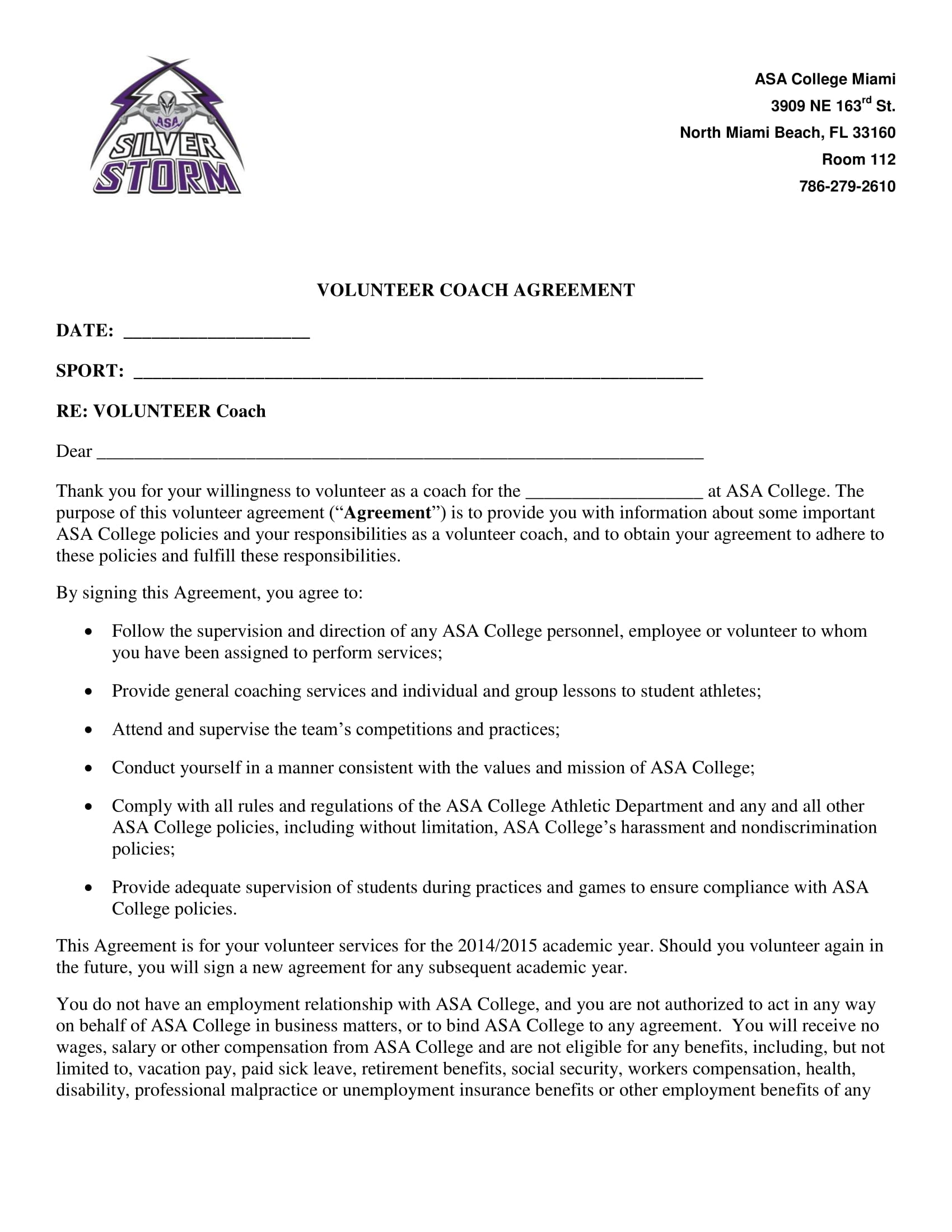 13 Sports Coach Contract Example Templates Docs Word Examples