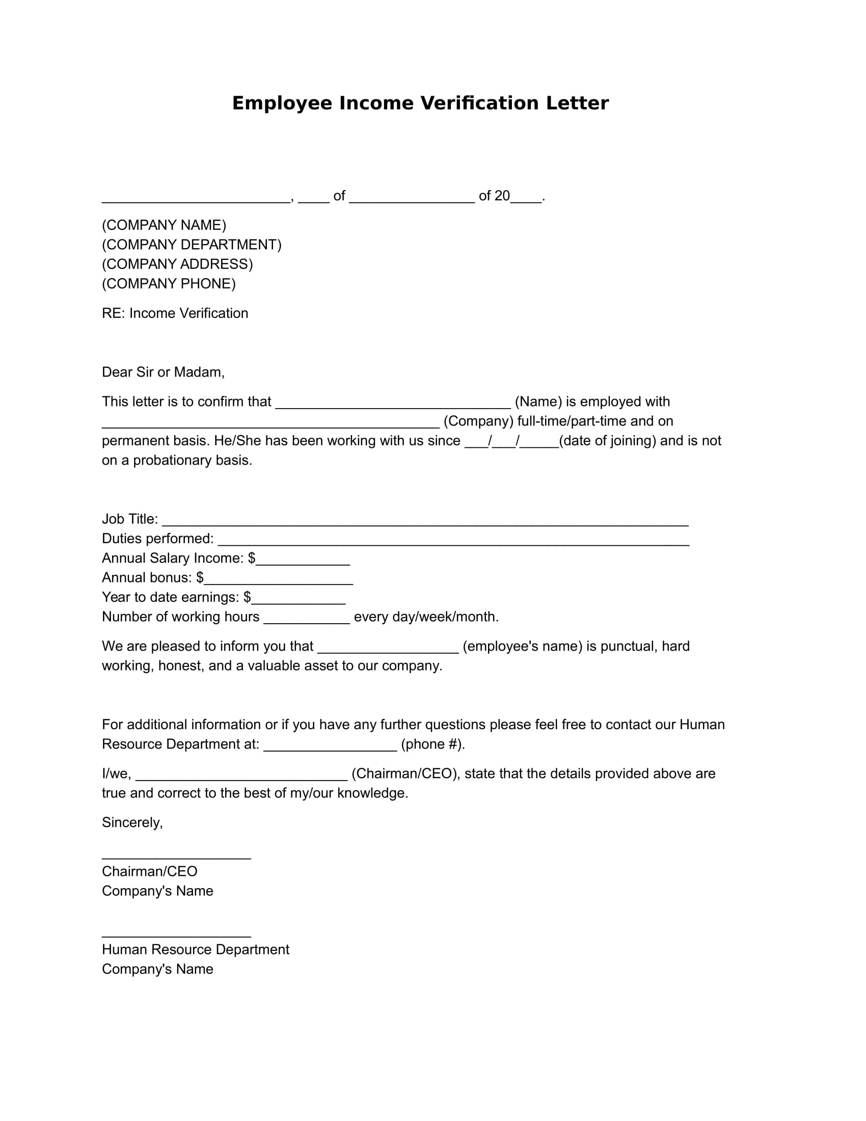 Employee Income Verification Letter Example