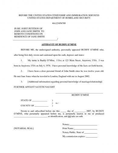 9 Affidavit Of Marriage Examples Pdf