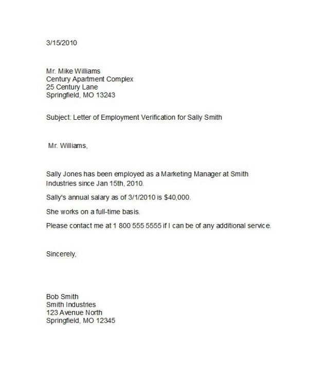 Employee Verification Letter Examples