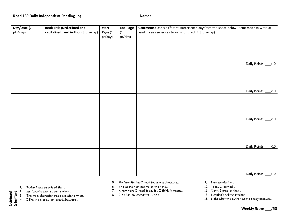 29 Printable Reading Log Examples In