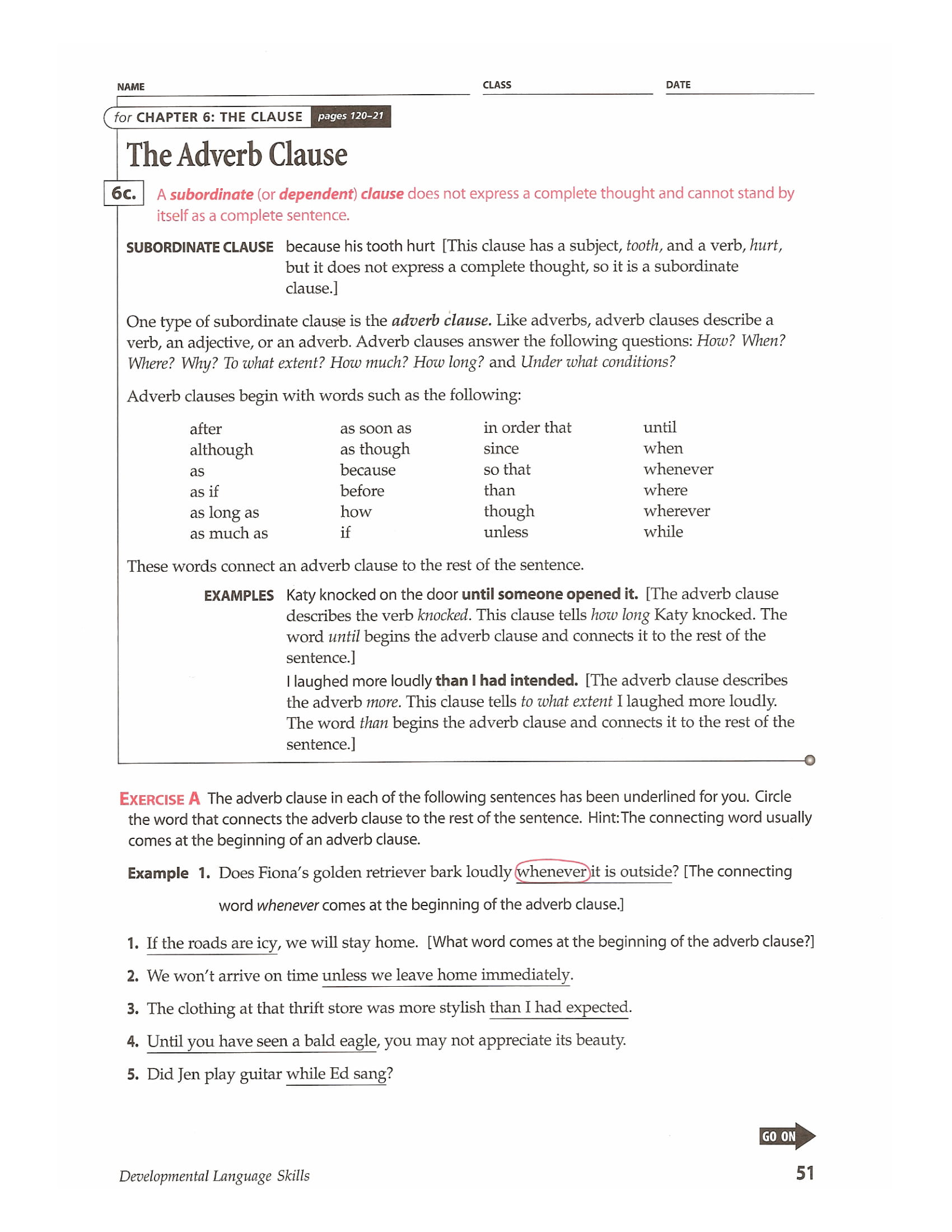 Worksheets Adverb Clause Worksheet Cheatslist Free