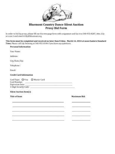 11 Auction Bid Form Examples PDF Word Examples