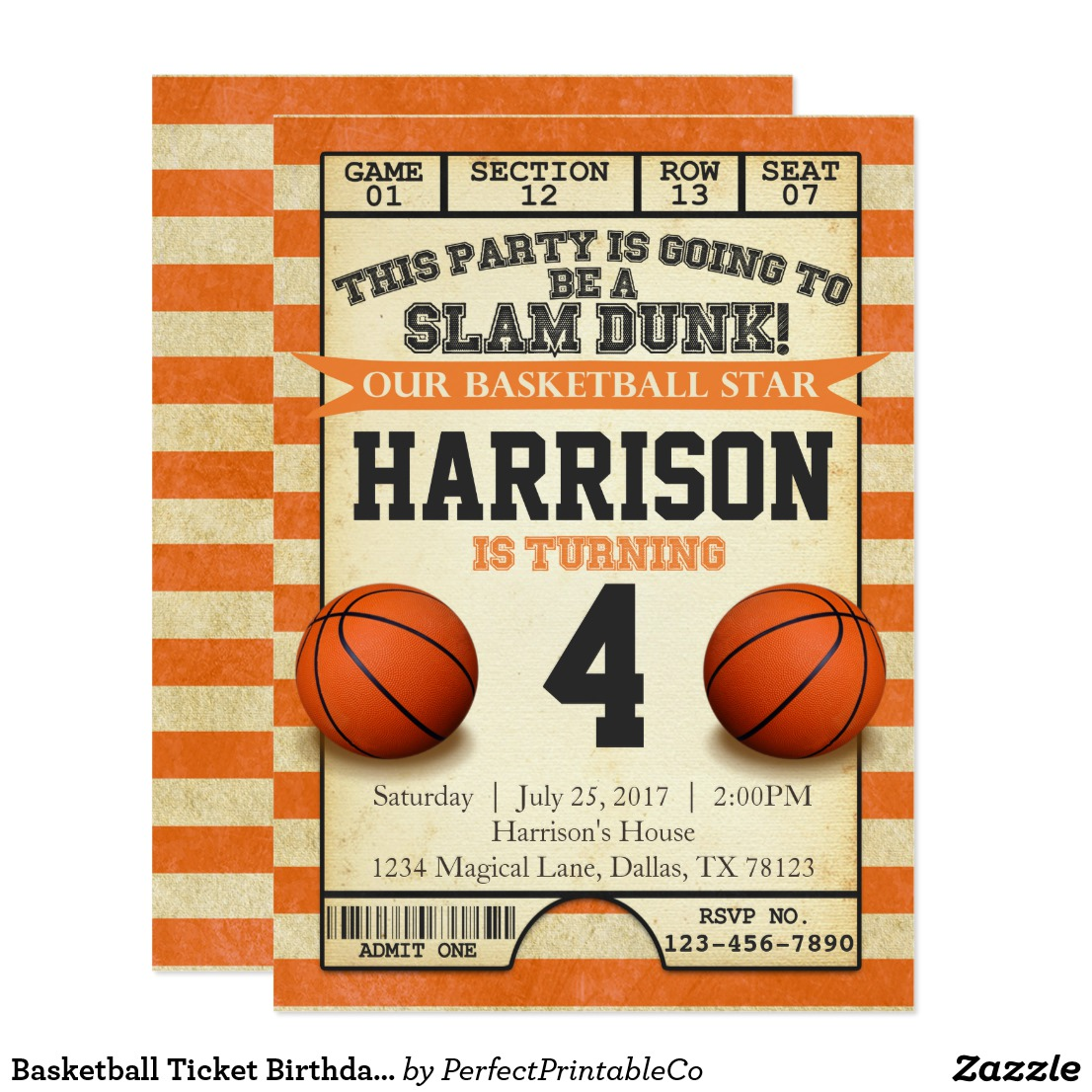 10 basketball ticket invitation card