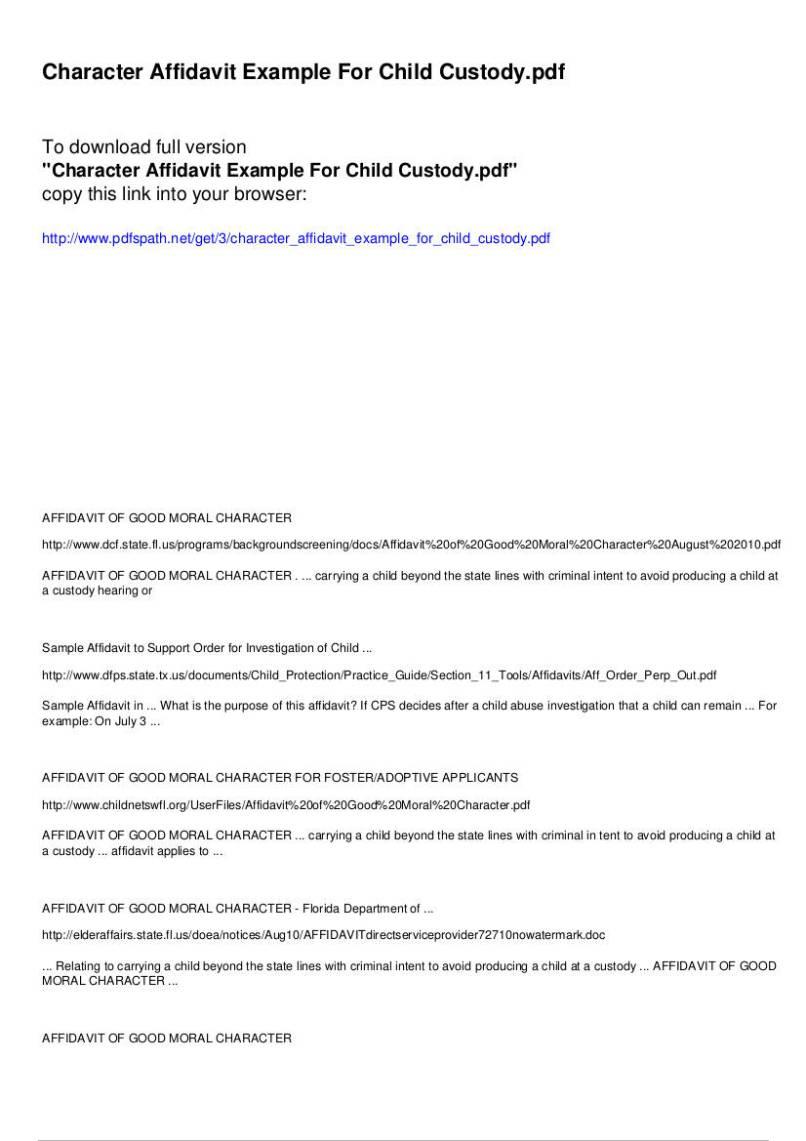 How To Write An Affidavit Letter For Child Custody