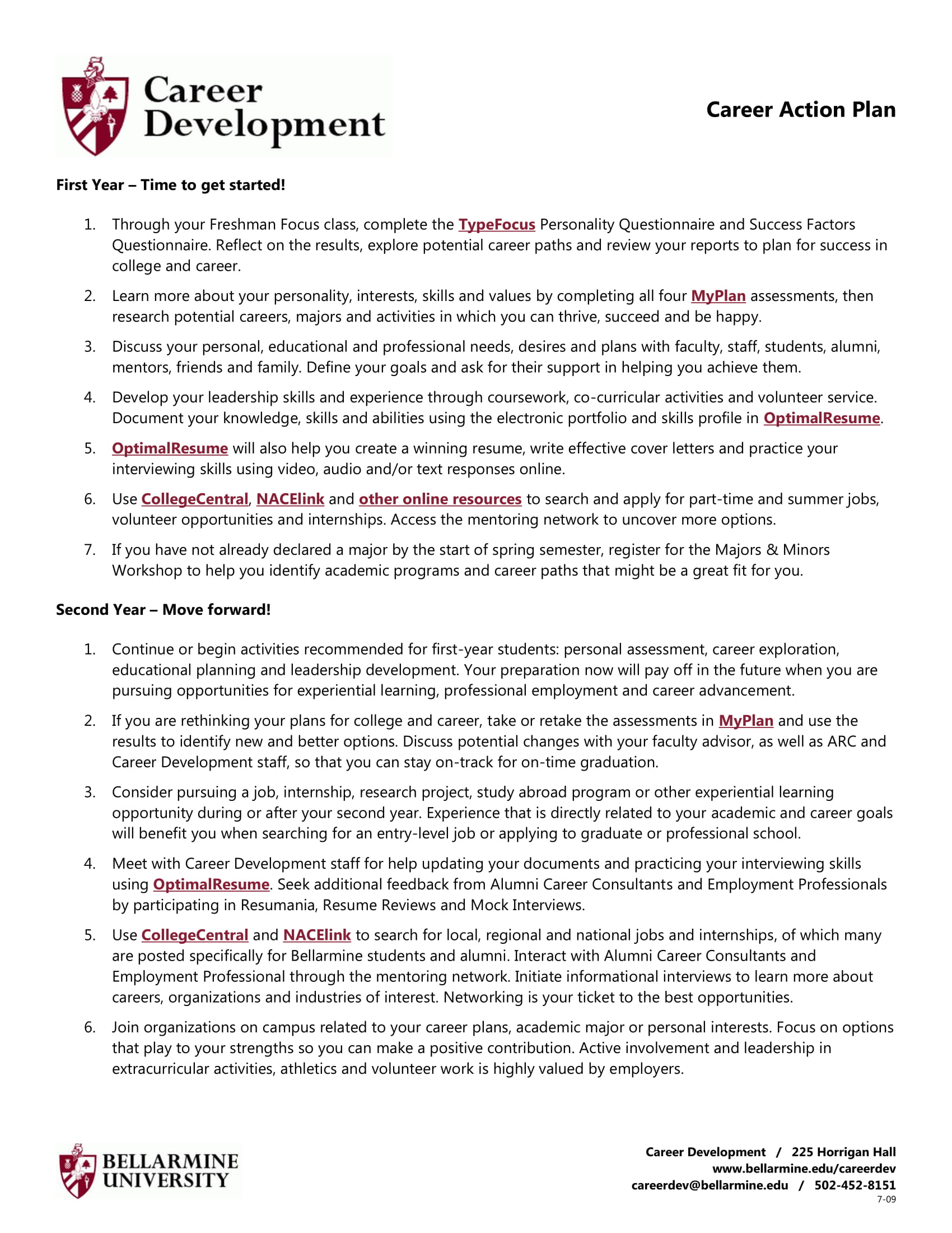College Career Action Plan Example