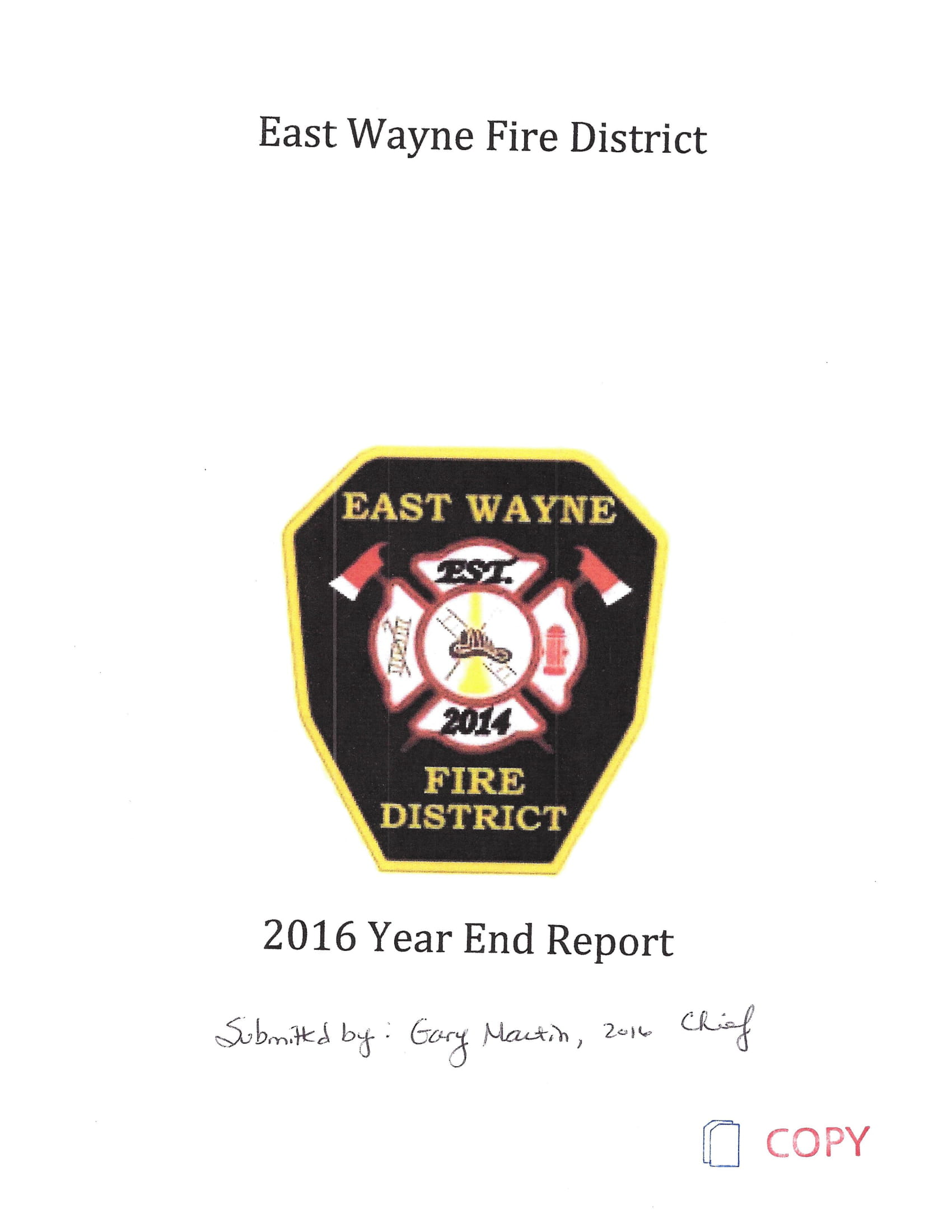 Fire District Year End Report Example