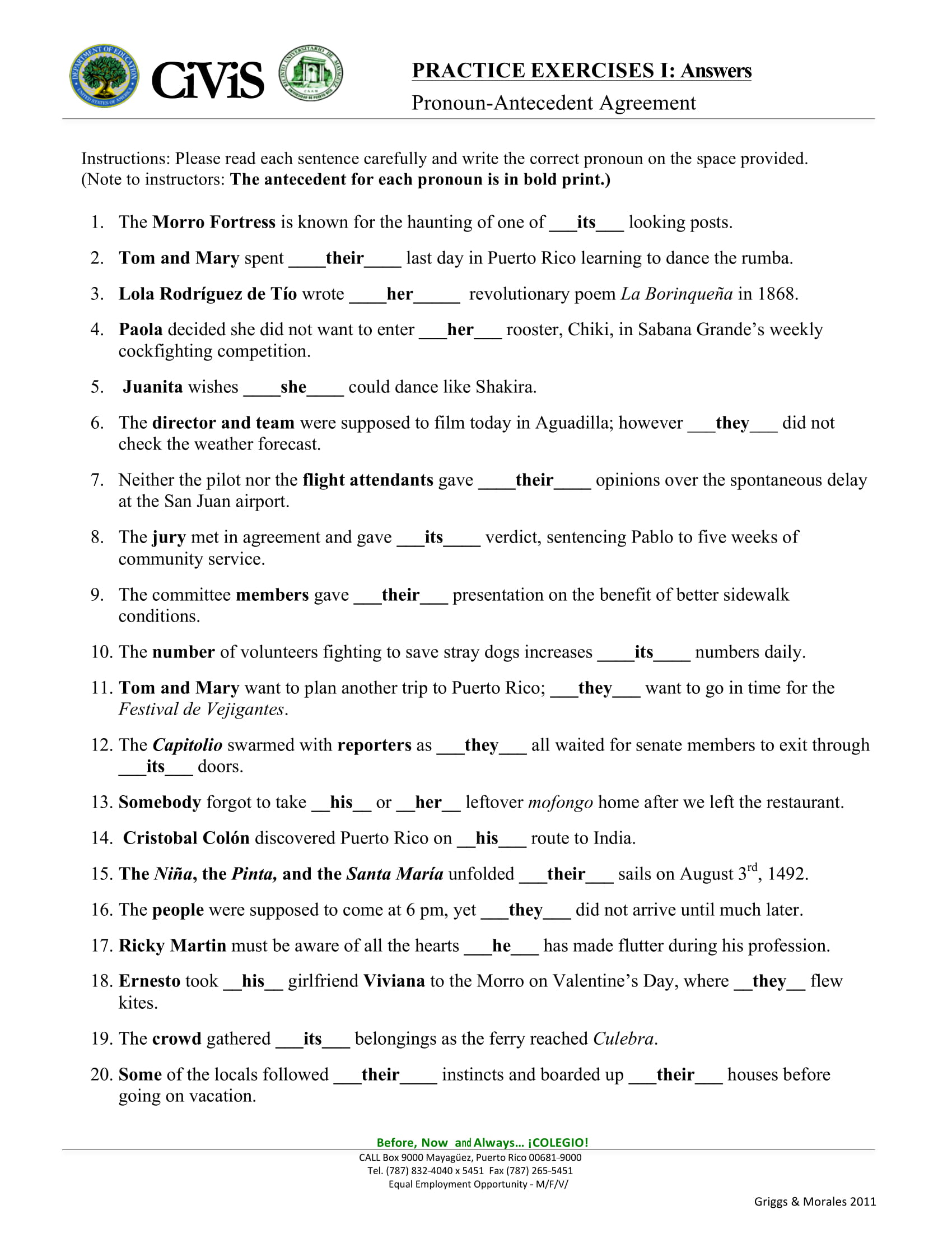 Pronoun Antecedent Worksheet Example2