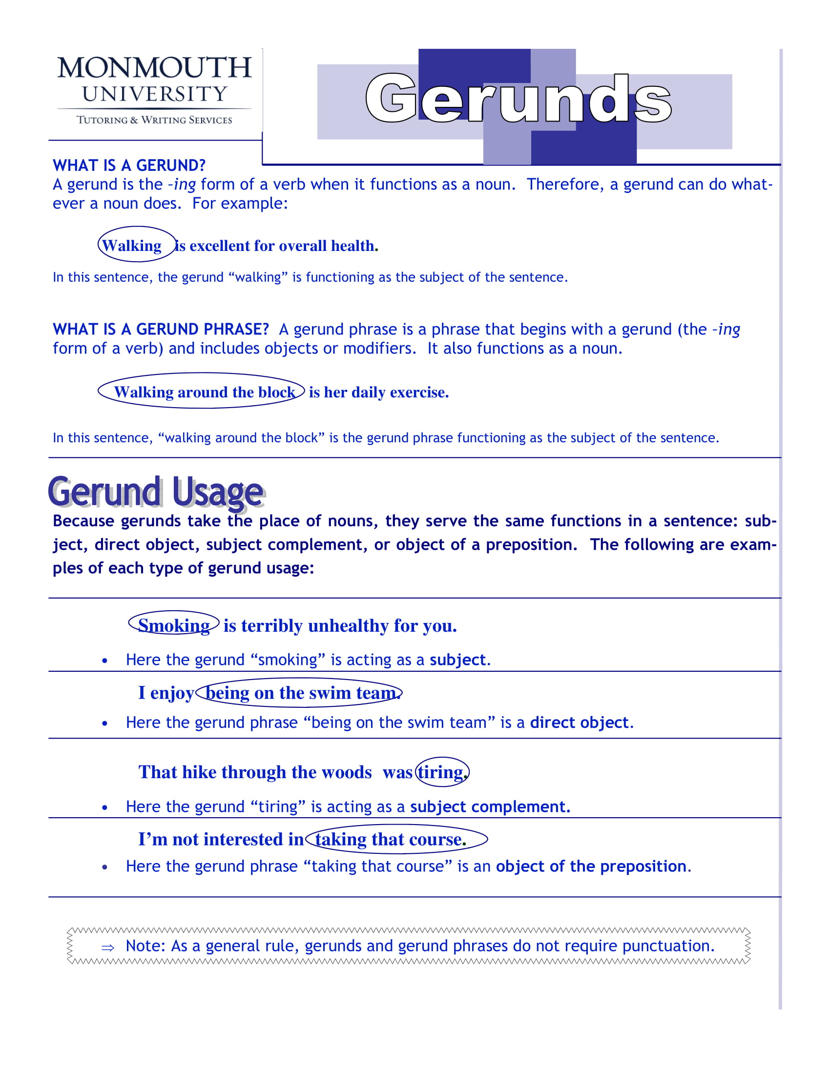 Gerund Phrases For Writers Example