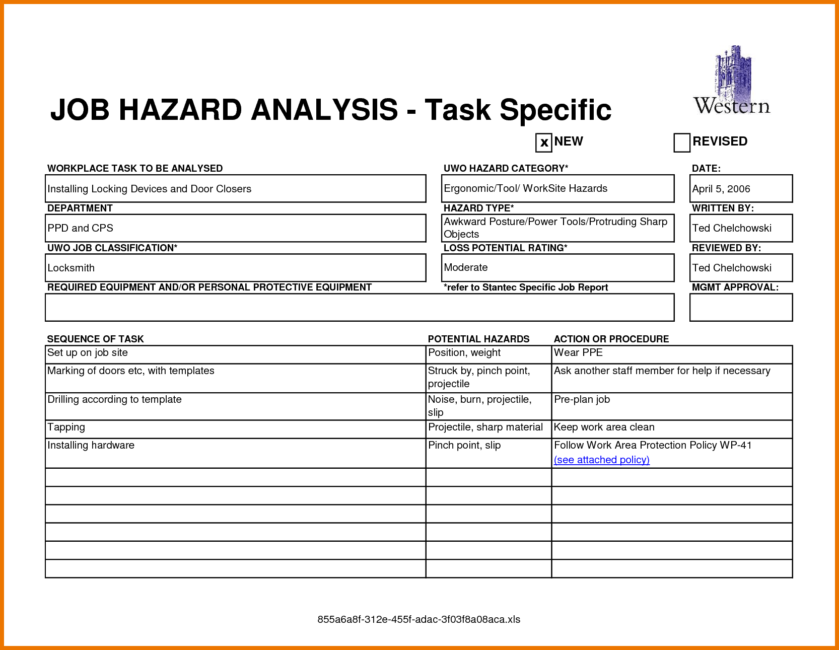 Task Specific Job Hazardysis