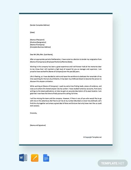 Retirement Resignation Letter Examples