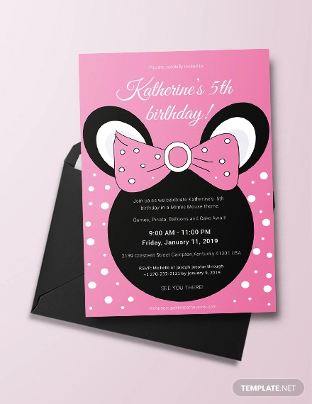 Free 14 Minnie Mouse Birthday Invitation Designs Examples In Word Psd Ai Eps Vector Illustrator Indesign Pages Publisher Examples
