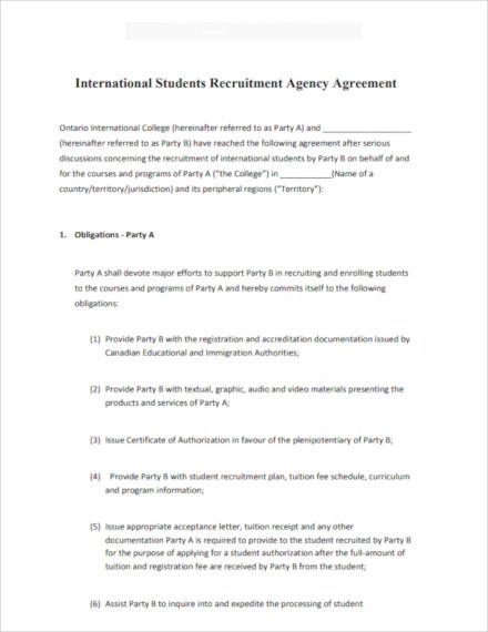 5 Recruitment Agency Contract Template Examples Pdf Word