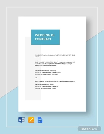 11 Dj Contract Examples Pdf Word Apple Pages Google