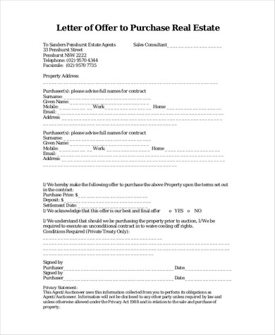 Free 10 Best Real Estate Offer Letter Examples Templates
