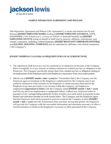 Free 10 Employment Separation Agreement Examples