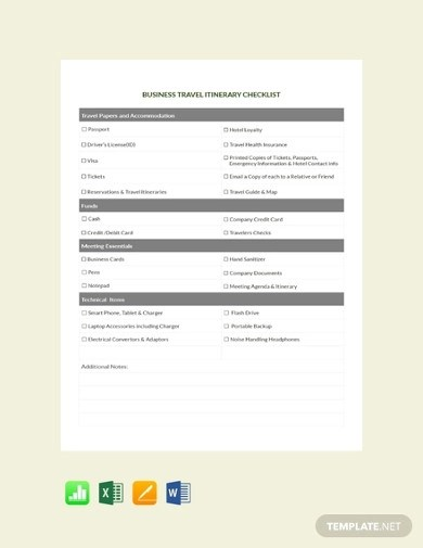 Free 10 Travel Itinerary Checklist Examples Templates