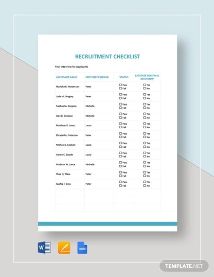 10 Examples Of Recruitment Checklist Pdf Word Examples