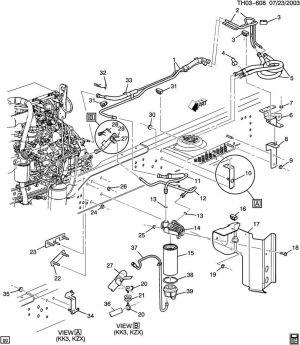 20032009 TopkickKodiak C6500C8500 Fuel Filter WBracket