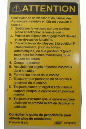 19972009 GMC TopkickChevy Kodiak Caution Label Tilt Cab