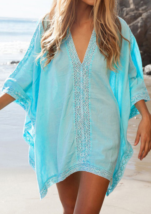 Cover Ups  Lace Splicing Beach Cover Up in Sky Blue. Size: One Size