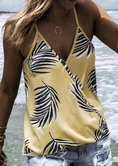 Yellow Palm Leaves V-Neck Casual Camisole Top for Women in Yellow. Size: S,L,XL