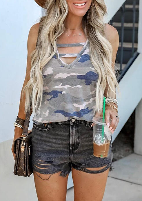 Tank Tops Camouflage Printed Hollow Out Tank without Necklace in Camouflage. Size: S,M,L,XL