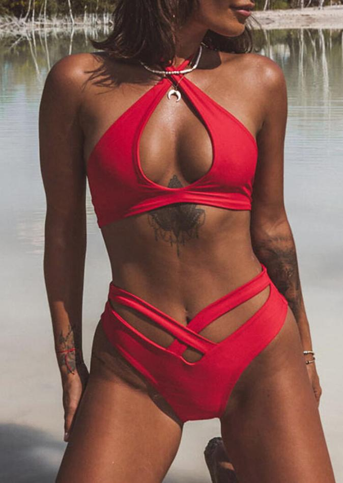 Bikini Sets Criss-Cross Hollow Out Halter Bikini Set without Necklace in Red. Size: S,M,L