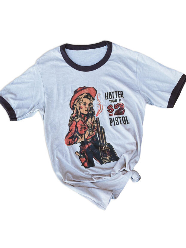 Tees T-shirts Hotter Than A 2 Pistol T-Shirt Tee in White. Size: S,M,XL