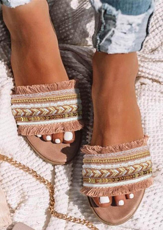 Slippers Summer Tassel Sequined Flat Slippers in DarkApricot. Size: 37,38,39