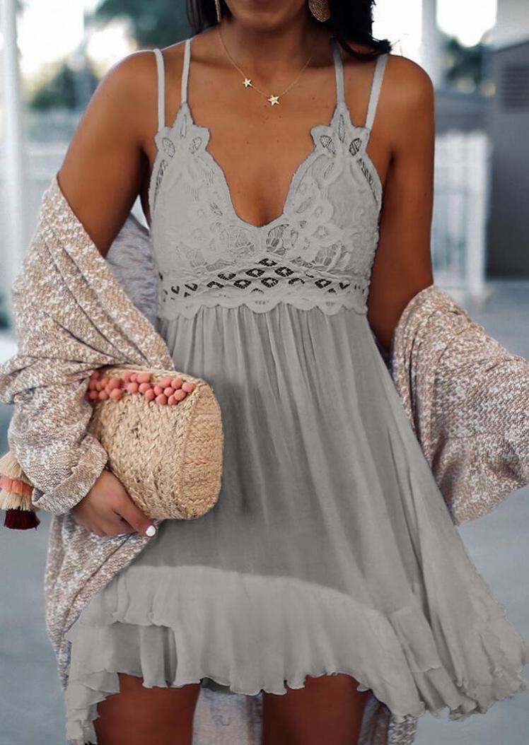 Mini Dresses Lace Splicing Ruffled Spaghetti Strap Mini Dress without Necklace in Gray. Size: S,M,L,XL