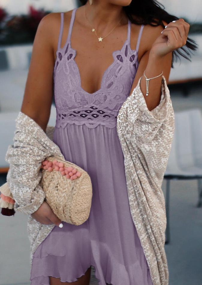 Mini Dresses Lace Splicing Ruffled Spaghetti Strap Mini Dress without Necklace in Purple. Size: S,M,L,XL