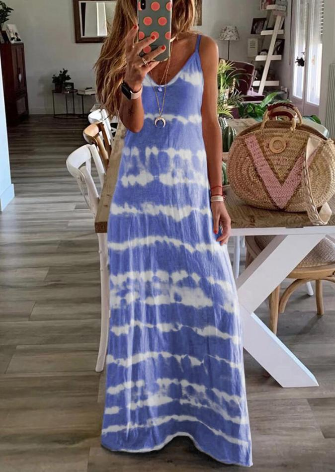 Maxi Dresses Tie Dye Spaghetti Strap V-Neck Maxi Dress without Necklace in Blue. Size: S
