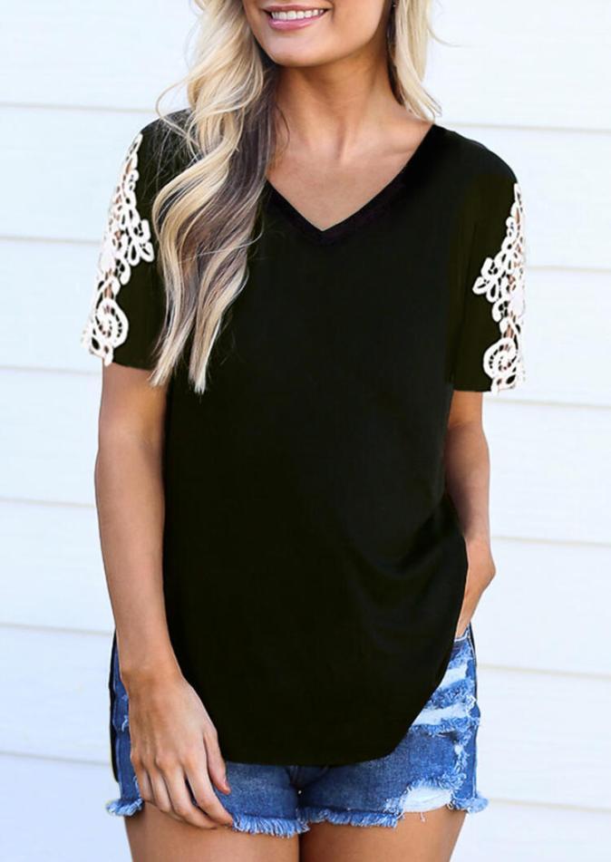 Blouses Lace Splicing V-Neck Blouse in Black. Size: M,L
