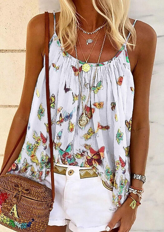 Tank Tops Butterfly Ruffled Camisole without Necklace in White. Size: M