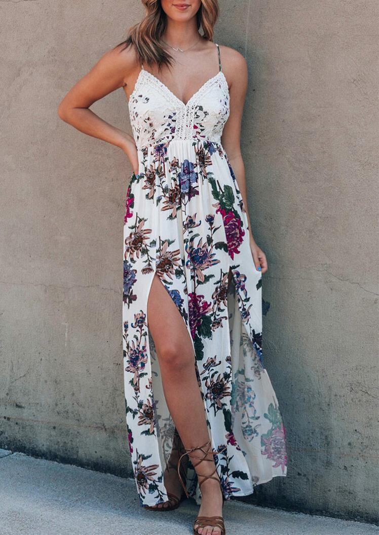 Maxi Dresses Floral Lace Splicing Open Back Slit Maxi Dress without Necklace in White. Size: S,M,L,XL