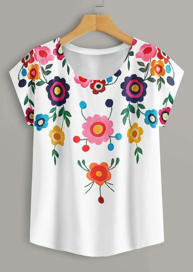 Tees T-shirts Presale - Colorful Floral O-Neck T-Shirt Tee in White. Size: S,M,L,XL