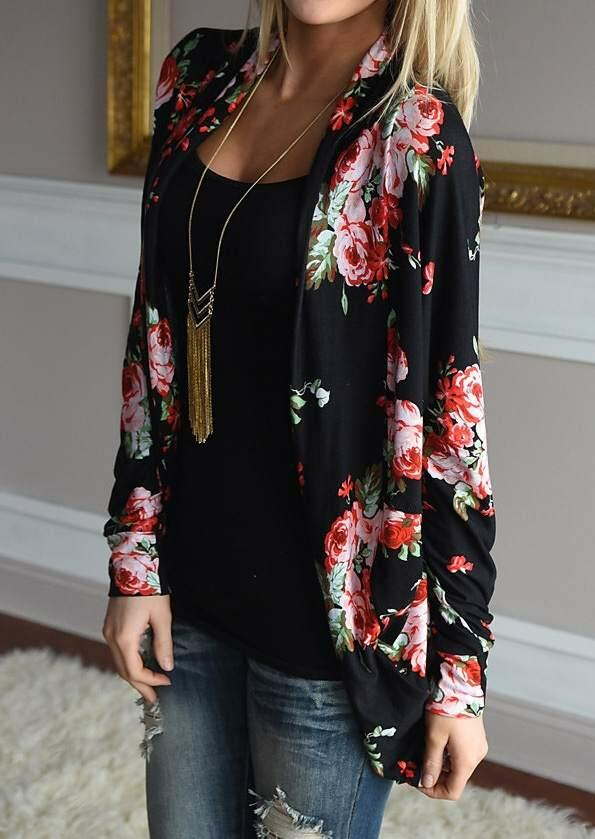 Cardigans Floral Long Sleeve Cardigan without Necklace in Black. Size: S,M,L,XL,2XL,3XL