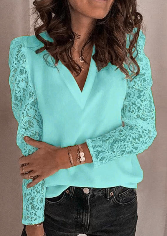 Blouses Lace Splicing V-Neck Blouse in Lake Blue. Size: S,M,L,XL