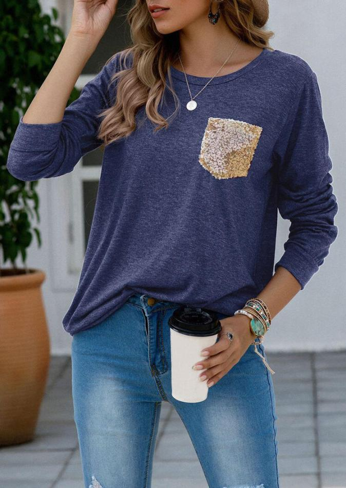 Tees T-shirts Sequined Pocket T-Shirt Tee in Deep Blue. Size: S,M,L,XL