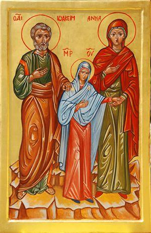 Santi Gioacchino ed Anna con la Vergine Maria, icona bizantina