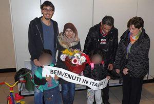 La prima famiglia siriana giunta legalmente in Italia, accolta dalla Comunità di Sant'Egidio.