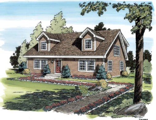 House Plan 34077 at FamilyHomePlans com Cape Cod Coastal Country Traditional House Plan 34077 Elevation