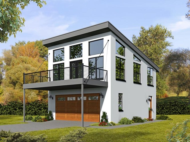 Modern Style 2 Car Garage Apartment Plan Number 51479 With 1 Bed Bath