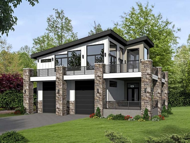 Modern Style 2 Car Garage Apartment Plan Number 51522 With 1 Bed Bath