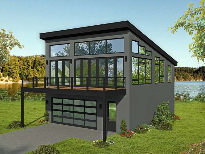 Modern Style 2 Car Garage Apartment Plan Number 51698 With 1 Bed Bath