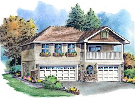 Garage Plan 58569 at FamilyHomePlans com Traditional Garage Plan 58569 Elevation
