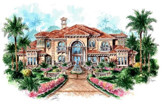 House Plan 60481 at FamilyHomePlans com Florida Mediterranean House Plan 60481 Elevation