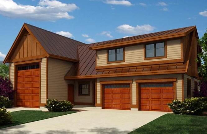 Craftsman Style 3 Car Garage Apartment Plan Number 76038 With 2 Bed Bath Rv Storage