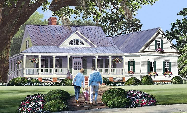 House Plan 86344 at FamilyHomePlans com Cottage Country Farmhouse Southern Traditional House Plan 86344 Elevation